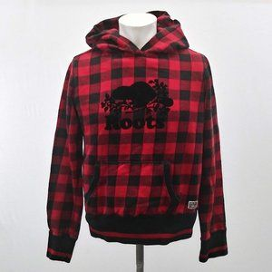 Roots Canada Women's Red Black Plaid Hoodie